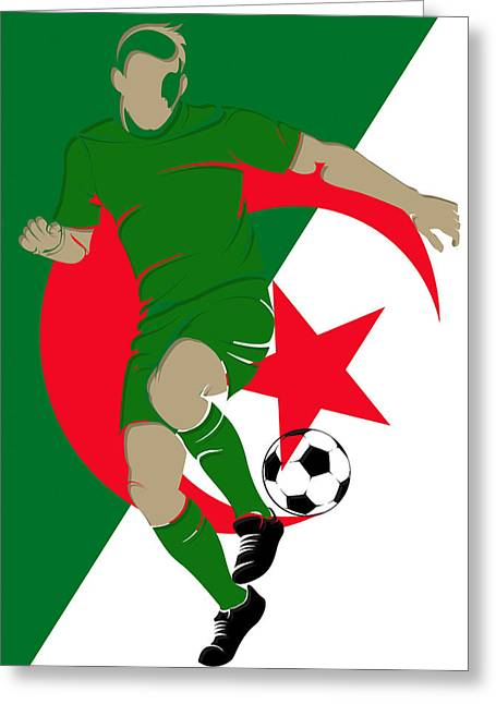 Soccer Goal Greeting Cards - Algeria Soccer Player2 Greeting Card by Joe Hamilton