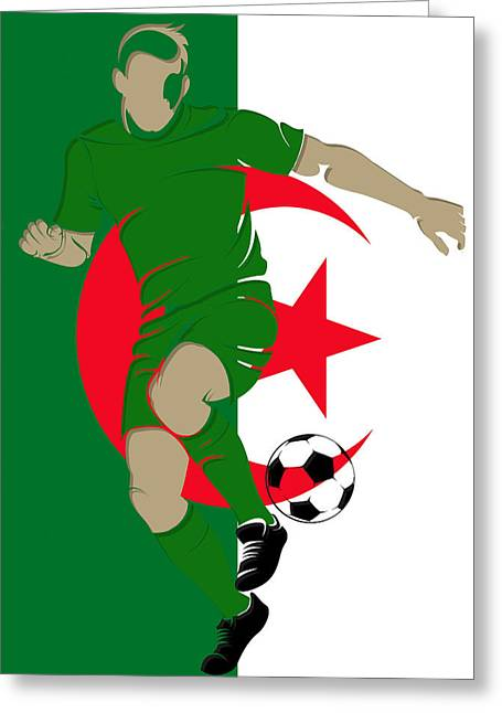 Keeper Greeting Cards - Algeria Soccer Player3 Greeting Card by Joe Hamilton