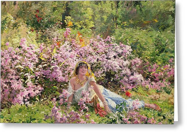 A Girl In A Wood Greeting Cards - Algerian beauty in a lilac field Greeting Card by Leon Louis Tanzi