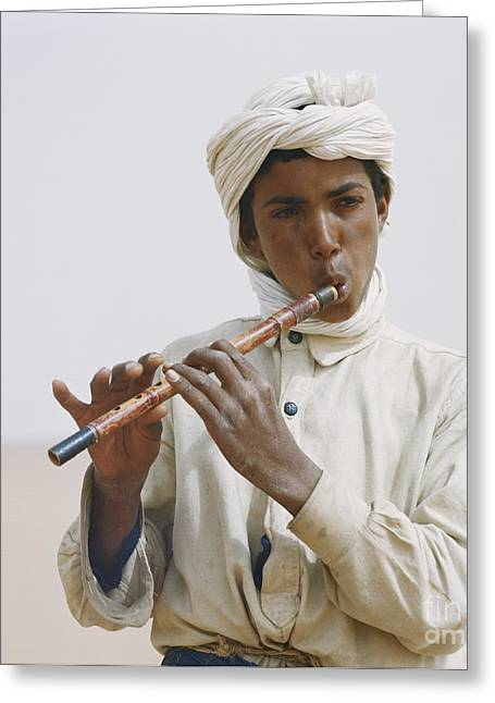 Playing Musical Instruments Greeting Cards - Algerian Flute Player Greeting Card by Gianni Tortoli