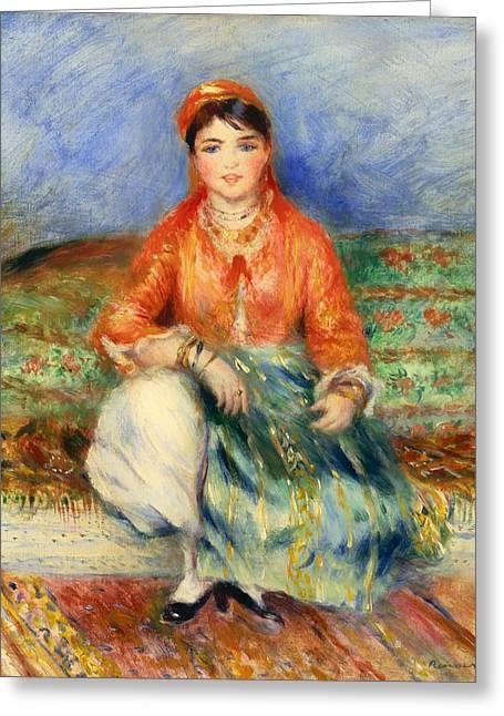 Lounge Paintings Greeting Cards - Algerian Girl Greeting Card by Auguste Renoir