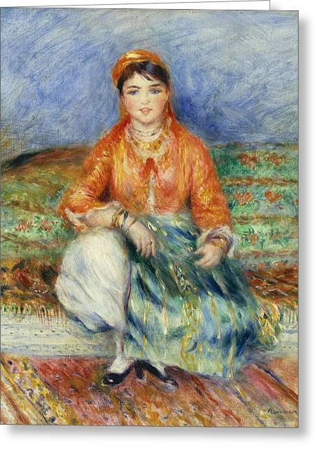 Algerian Greeting Cards - Algerian Girl Greeting Card by Pierre-Auguste Renoir