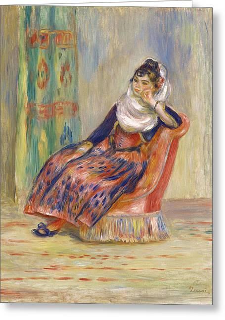 Algerian Greeting Cards - Algerian Woman Greeting Card by Pierre-Auguste Renoir