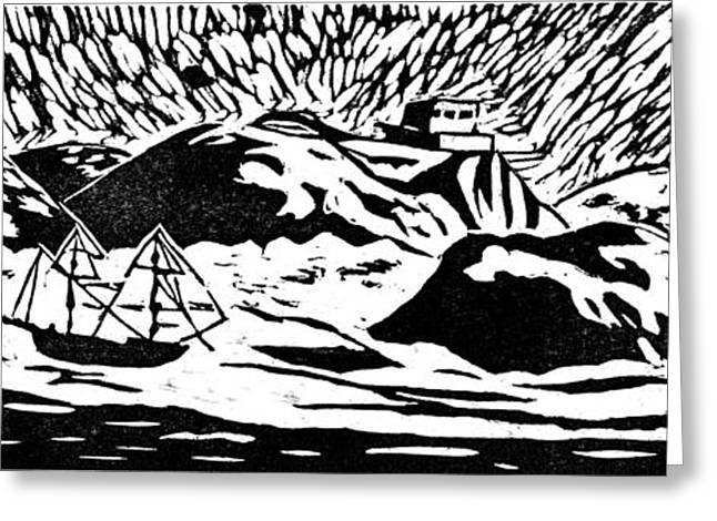 Lino Cut Drawings Greeting Cards - Algoa Bay Greeting Card by Keiskamma art project
