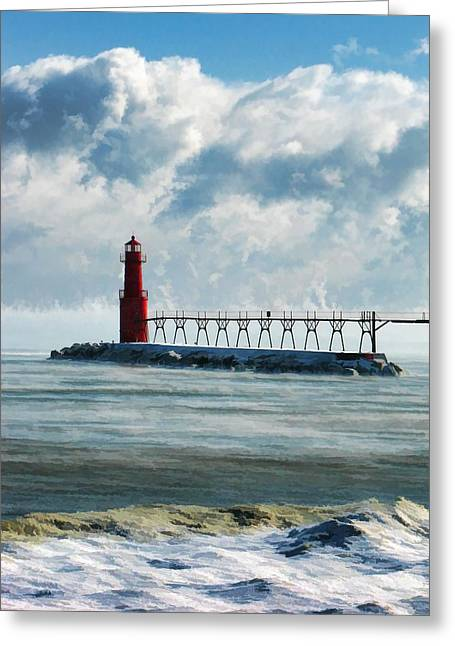 Stormy Clouds Greeting Cards - Algoma Pierhead Lighthouse Greeting Card by Christopher Arndt