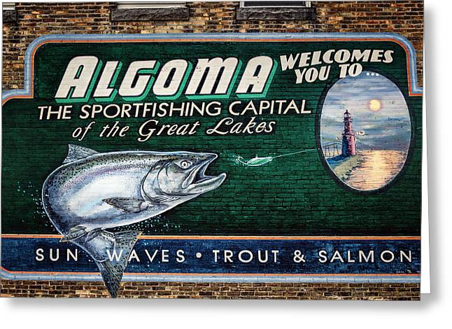 Wisconsin Fishing Greeting Cards - Algoma Welcomes You Greeting Card by Joan Carroll