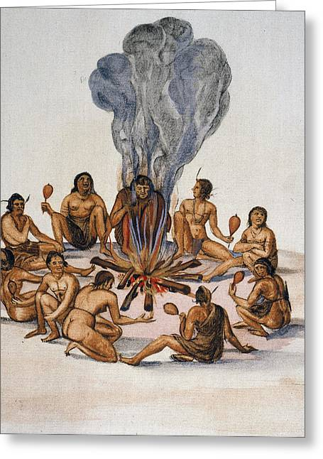 Algonquian Native Americans, 1585 Greeting Card by Granger