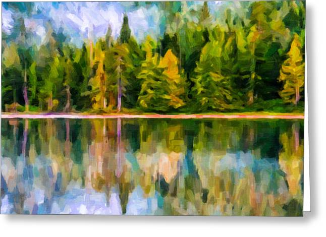 Reflections Of Sun In Water Paintings Greeting Cards - Algonquin Provincial park Greeting Card by Lanjee Chee