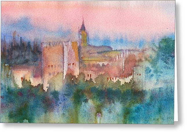 Wet Into Wet Watercolor Greeting Cards - Alhambra de Granada Greeting Card by Yevgenia Watts