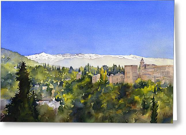 Alhambra Granada Greeting Card by Margaret Merry