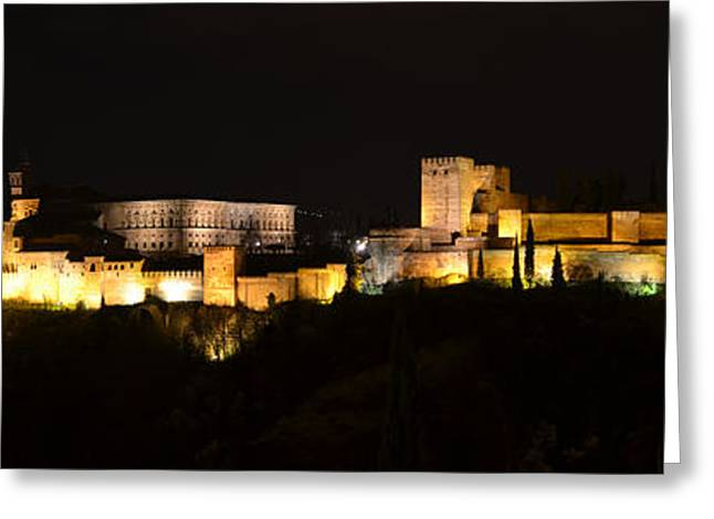 Historic Site Greeting Cards - Alhambra night panoramic Greeting Card by RicardMN Photography