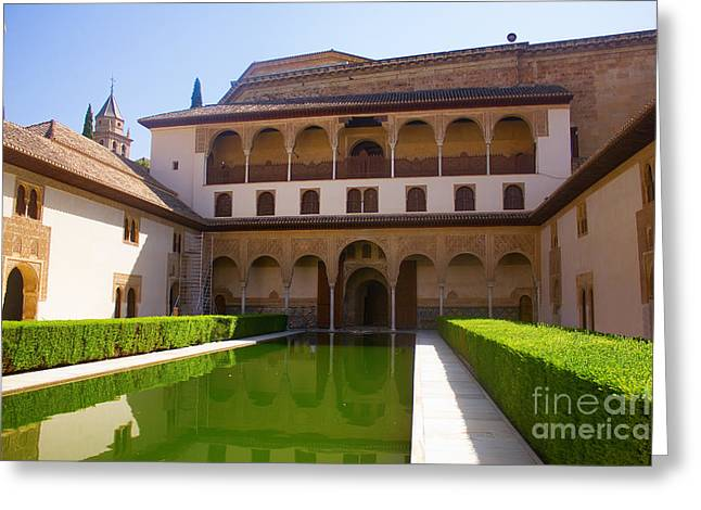 Historical Buildings Pyrography Greeting Cards - Alhambra palace Greeting Card by Dragomir Nikolov