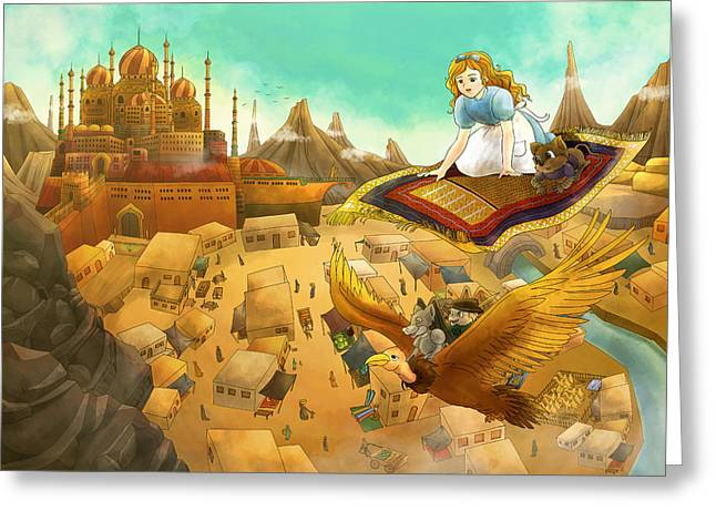 Baba Paintings Greeting Cards - Ali Baba Cover Art Greeting Card by Reynold Jay