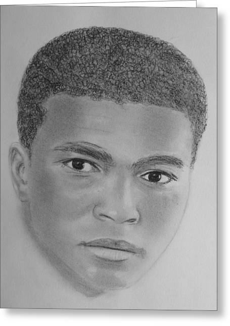 Boxer Drawings Greeting Cards - Ali Greeting Card by Paul Blackmore