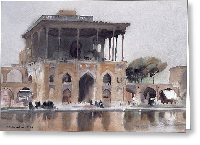 Ali Qapu Palace, Isfahan, 1994 Wc On Paper Greeting Card by Trevor Chamberlain
