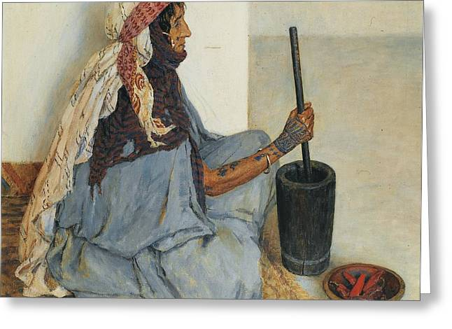 Jihad Greeting Cards - Alia Sitting And Grinding Vegetables Greeting Card by Celestial Images