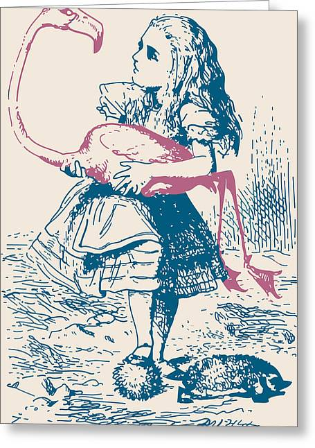 Lewis Carroll Greeting Cards - Alice and Flamingo Croquet Mallet Greeting Card by