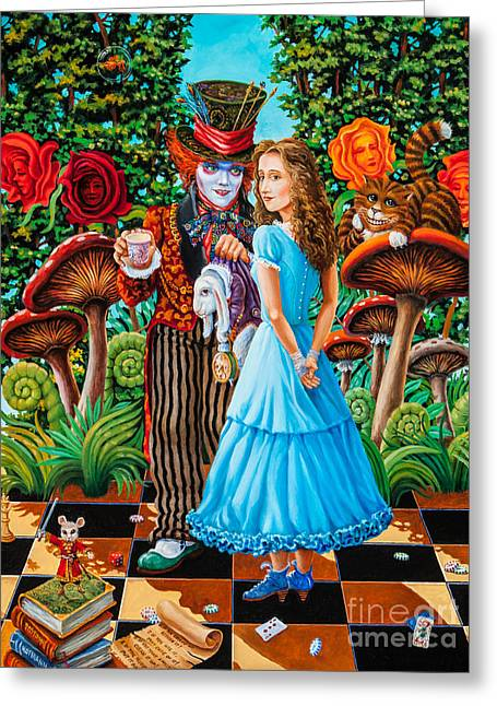 Chess Piece Paintings Greeting Cards - Alice and Mad Hatter. Part 2 Greeting Card by Igor Postash