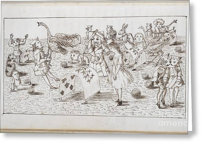 Croquet Greeting Cards - Alice And Red Queen Play Croquet Greeting Card by British Library