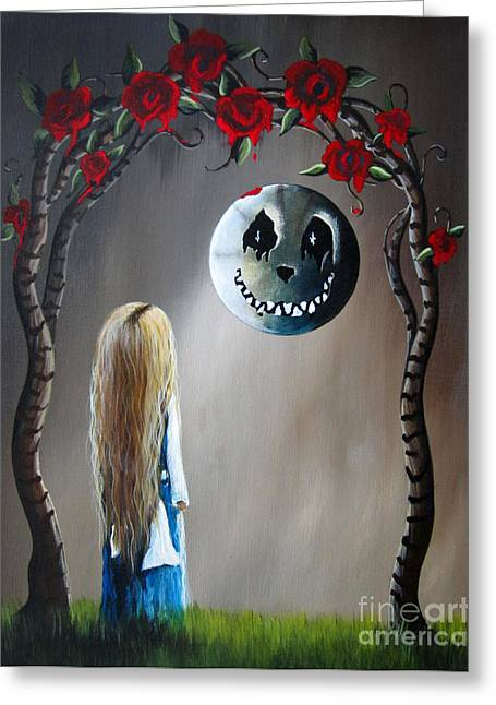 Arts In Wonderland Greeting Cards - Alice In Wonderland Original Artwork - Alice And The Beautiful Nightmare Greeting Card by Shawna Erback