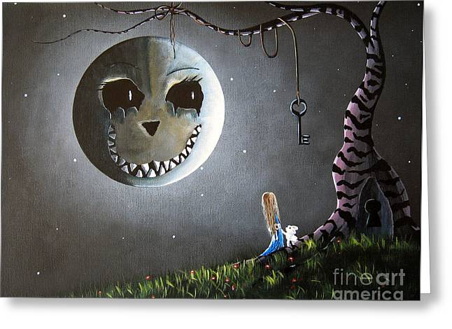 Rose Prints Greeting Cards - Alice In Wonderland Original Artwork - Alice And The Cheshire Moon Greeting Card by Shawna Erback
