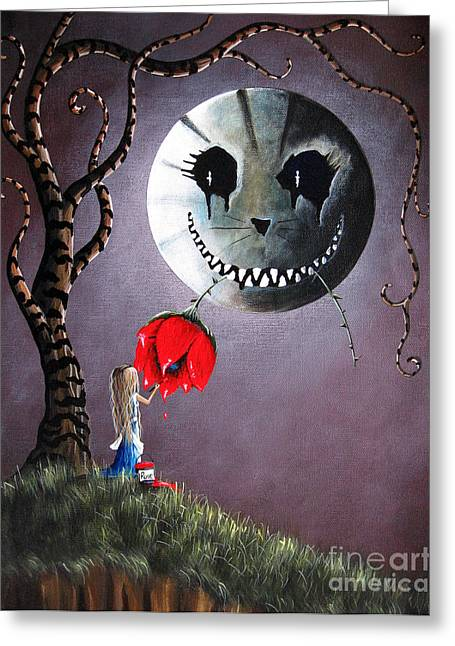 Dark Blue Green Greeting Cards - Alice In Wonderland Original Artwork - Alice And The Dripping Rose Greeting Card by Shawna Erback