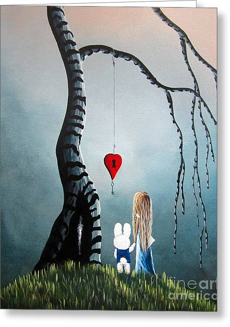 Arts In Wonderland Greeting Cards - Alice In Wonderland Original Artwork - Alice And The Enchanted Key Greeting Card by Shawna Erback