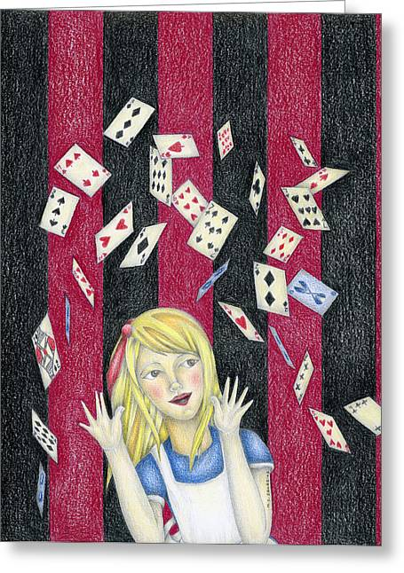 Nice Drawings Greeting Cards - Alice and the pack of cards Greeting Card by MC Iglesias