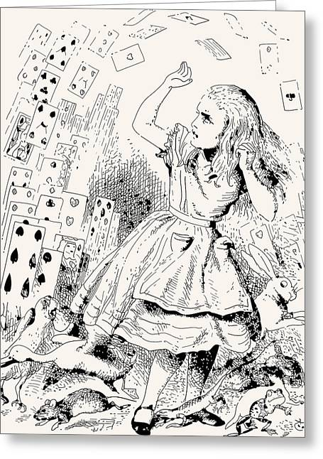 Playing Cards Drawings Greeting Cards - Alice Attacked by Cards Greeting Card by John Tenniel