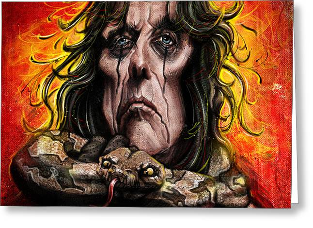 Wacom Greeting Cards - Alice Cooper Greeting Card by Andre Koekemoer