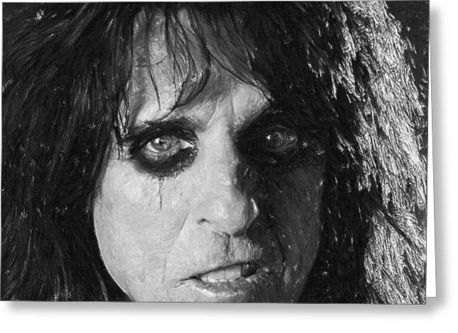 Leaders Pastels Greeting Cards - Alice Cooper Greeting Card by Antony McAulay