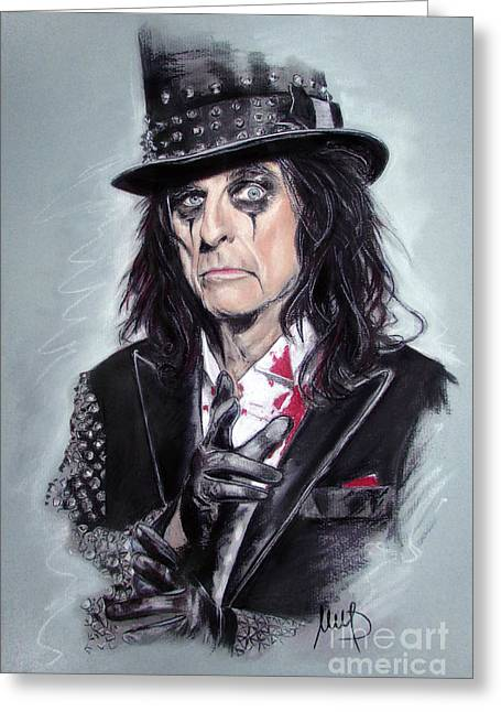 Alice Greeting Cards - Alice Cooper Greeting Card by Melanie D