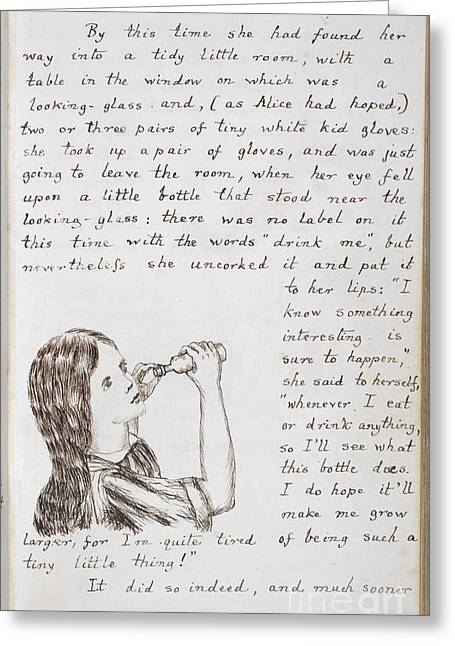 Arts In Wonderland Greeting Cards - Alice Drinks To Grow Taller Greeting Card by British Library