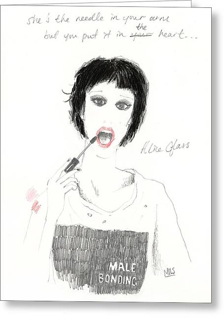 Bonding Drawings Greeting Cards - Alice Glass Greeting Card by Mils Gan