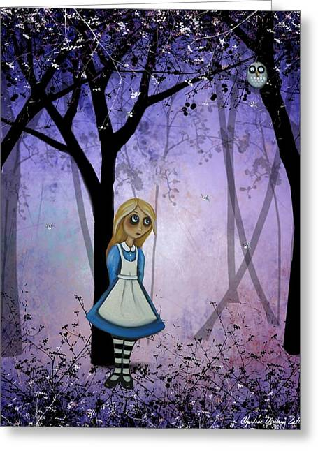 Arts In Wonderland Greeting Cards - Alice in an Enchanted Forest Greeting Card by Charlene Murray Zatloukal