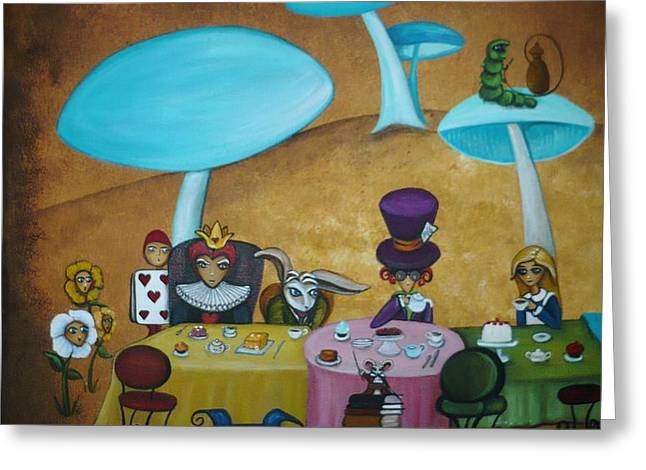 Alice in Wonderland Art - Mad Hatter's Tea Party I Greeting Card by Charlene Murray Zatloukal
