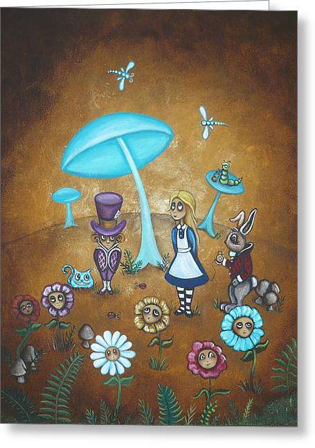 March Hare Greeting Cards - Alice in Wonderland - In Wonder Greeting Card by Charlene Murray Zatloukal