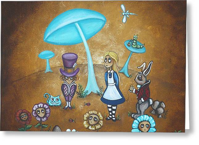 Alice in Wonderland - In Wonder Greeting Card by Charlene Murray Zatloukal
