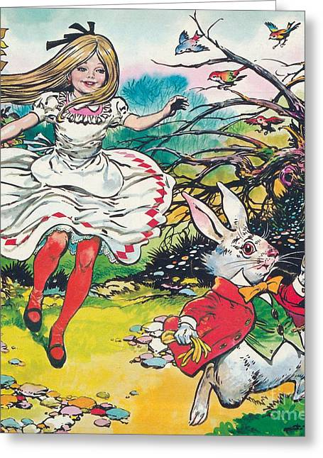 Roots Paintings Greeting Cards - Alice in Wonderland Greeting Card by Jesus Blasco