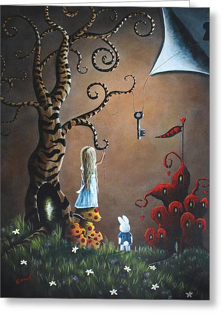 Flower Greeting Cards - Alice In Wonderland Original Artwork - Key To Wonderland Greeting Card by Shawna Erback