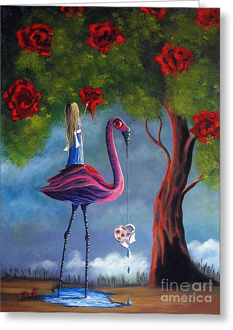 Dripping Rose Greeting Cards - Alice In Wonderland Artwork  Greeting Card by Shawna Erback