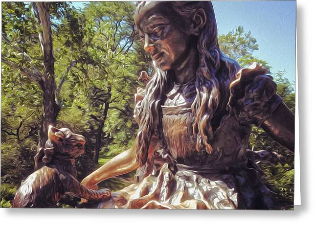 Gregory Dyer Greeting Cards - Alice in Wonderland statue in New York City Central Park Greeting Card by Gregory Dyer