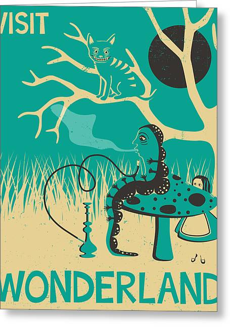 Arts In Wonderland Greeting Cards - Alice in Wonderland Travel Poster Greeting Card by Jazzberry Blue