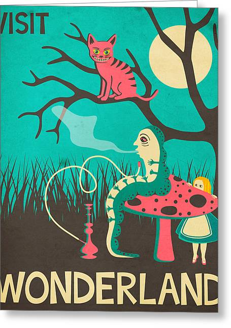 Wonderland Greeting Cards - Alice in Wonderland Travel Poster - Vintage Version Greeting Card by Jazzberry Blue