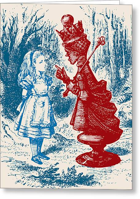 Board Game Greeting Cards - Alice Meeting the Red Queen Greeting Card by