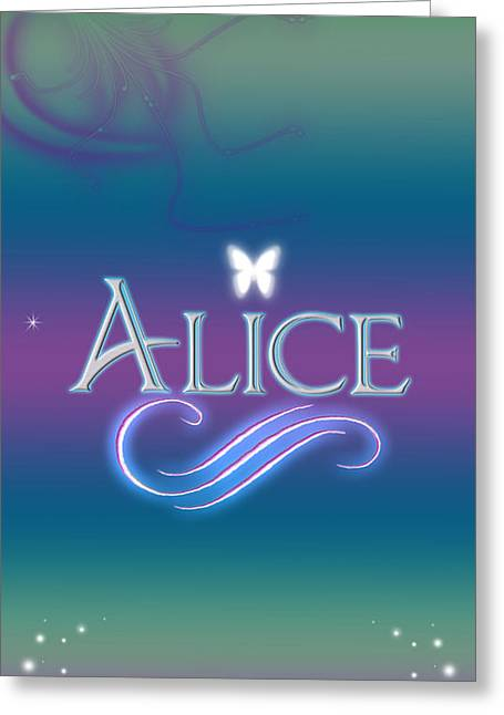 Star Stuff Greeting Cards - Alice Name Art Greeting Card by Becca Buecher