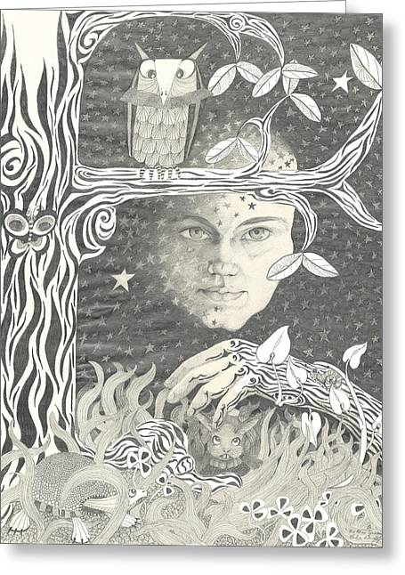 Man In The Moon Greeting Cards - Alice Syndrome Greeting Card by Melinda Dare Benfield