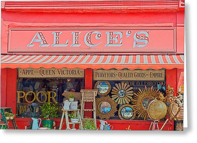 Chelsea Greeting Cards - Alices Antiques Greeting Card by Nomad Art And  Design