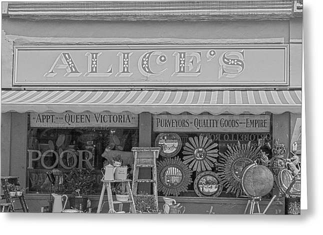 Chelsea Greeting Cards - Alices Antiques in Black and White Greeting Card by Nomad Art And  Design