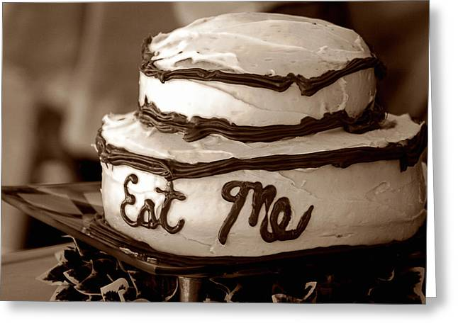 Alice's Eat Me Cake  Greeting Card by Trish Mistric